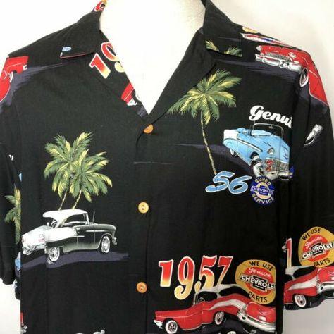 Paradise Found Classic Car Hawaiian Shirt Chevrolet Button Size Xl