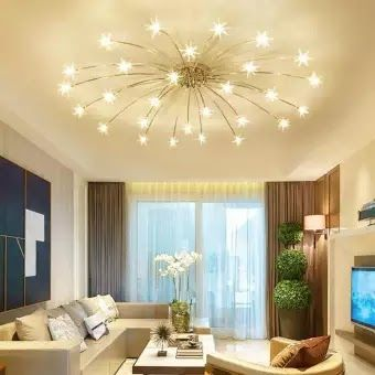 Qukau Star Roof Lighting Ceiling Lamp Living Room Lighting Simple Restaurant Bedroom Cr In 2020 Living Room Ceiling Chandelier In Living Room Ceiling Lamps Living Room