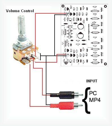 400W RMS Stereo Power Amplifier Input Connection with Volume