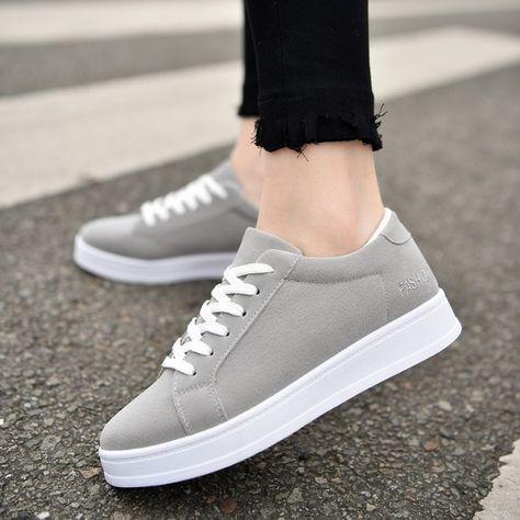 Women Casual Shoes Platform Sneakers Lace Up Sport Shoes Black Flats Shoes Grey Woman Shoes Chaussures Femme Espadrilles Color Black Shoe Size Source by ayenandarmyint shoes 2018
