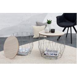 Design 2er Set Couchtisch Storage 50cm Greige Eiche Aufbewahrungskorb Beistellti Des In 2020 Storage Furniture Bedroom Coffee Table Coffee Table With Storage