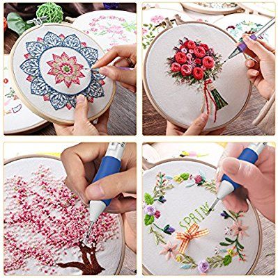 Cartoon Pattern Punch Needle Embroidery Kit with with Punch Embroidery Pen