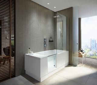 Shower Bath With Closed Glass Door For Use As Bathtub The