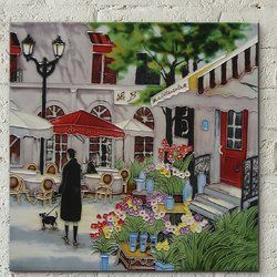 Lady at Staircase by Dominguez 11x14 inches Decorative Ceramic Tile Fiesta Studios Building Materials