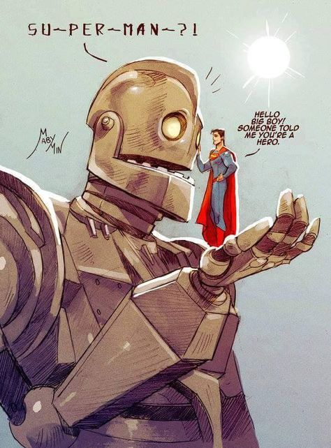 My Hero by MabyMin, Superman meets The Iron Giant Comic Books Art, Comic Art, Beste Comics, The Iron Giant, Arte Robot, Drawn Art, Ecole Art, Man Of Steel, Steel Dc