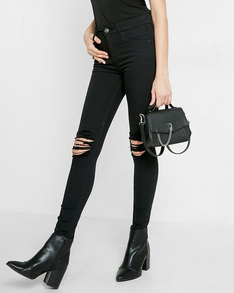 Perfect black high waisted distressed knee stretch jean leggings from Express.