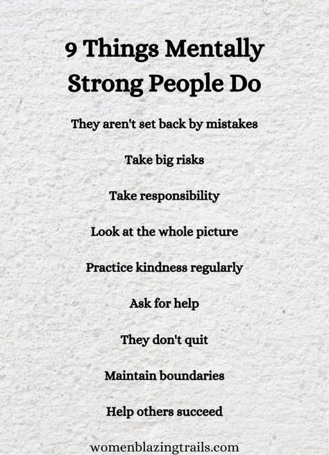 9 Things Mentally Strong People Do