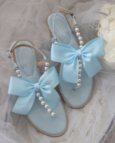 Pearl Sandals, Rhinestone Sandals, Flat Sandals, Leather Sandals, Flats, Aesthetic Shoes, Blue Aesthetic, Blue Pearl, Blue And Silver