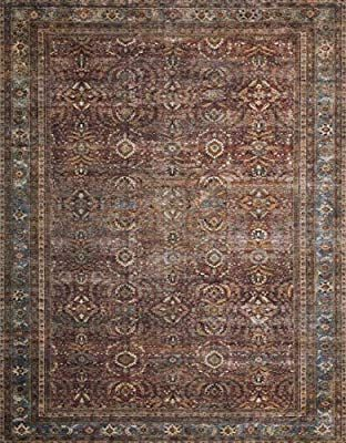 Amazon Com Loloi Ii Layllay 01bkbb7696 Layla Collection Area Rug 7 6 X 9 6 Brick Blue Kitchen Dining Persian Area Rugs Area Rugs Rugs