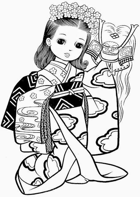 Desenhos De Meninas Japonesas Para Colorir Pintar Imprimir
