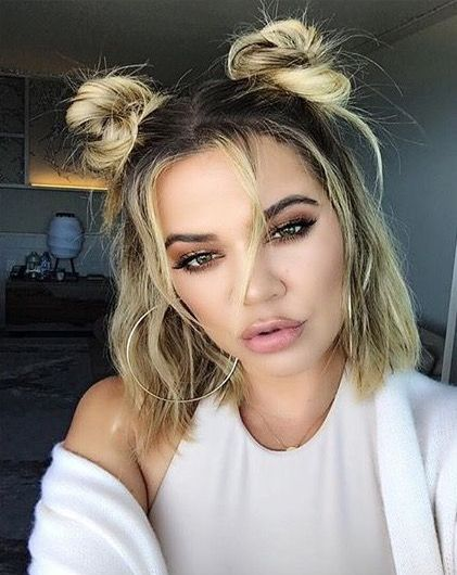 28 Ridiculously Cool Double Bun Hairstyles You Need To Try Short Hair Updo Cute Hairstyles For Short Hair Short Hair Styles
