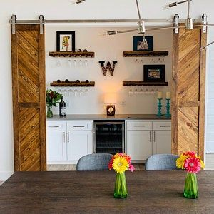Solid Cypress Sliding Chevron Barn Doors Built To Order Sliding French Doors Antique French Doors Farmhouse Kitchen Decor