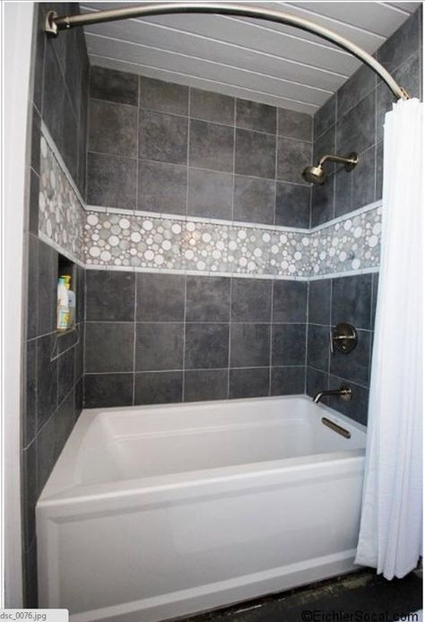 Mid Century Modern Bathroom using Light Grey Moonstone Mosaic Shower tile. https://www.pebbletileshop.com/products/Light-Grey-Moon-Mosaic-Tile.html#.VZw5R_lViko