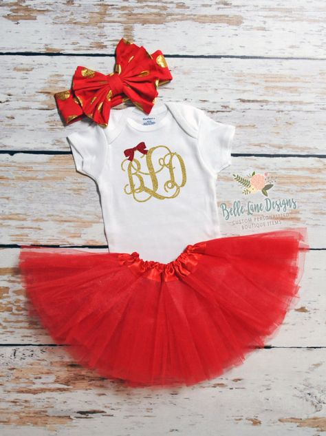 c64d18079 Baby's First Christmas Onesie w Monogram, Bow, & Tutu | First Christmas  Tutu | Baby Holiday | Christmas Baby | First Christmas Outfit | 123 by ...