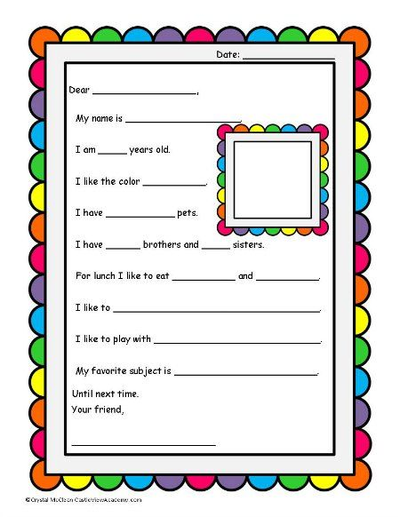 Pen Pal Letter Planning Worksheet  The Mailbox Snailmail