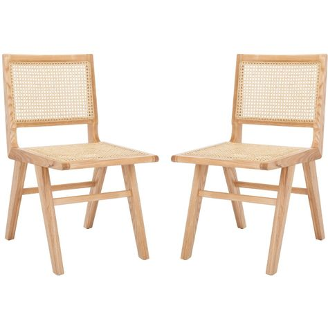 Expressing the opulent side of luxurious coastal decor, the Hattie French Cane Dining Chair lends classy-casual character to the dining experience. Hattie's minimalist ash wood frame is stylishly juxtaposed with natural woven French cane for striking artistic contrast, making a fashion-forward statement in any modern interior. Sold in sets of two. Care Instructions: WOOD CARE: Always use felt pads under all articles to prevent discoloration or softening of the lacquer. Plastic and rubber bases o Rattan Dining Chairs, Dining Chair Set, Outdoor Chairs, Hans Wegner, Plywood Furniture, Rattan Furniture, Decor Market, Lounge, Parsons Chairs