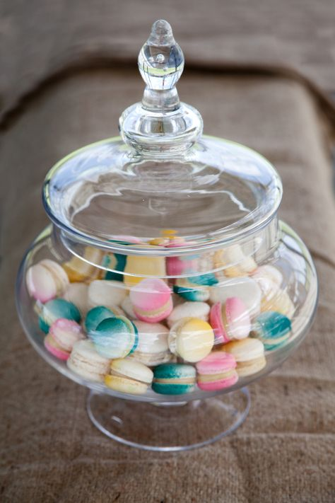Glass Jar with colour coordinated Macaroon's
