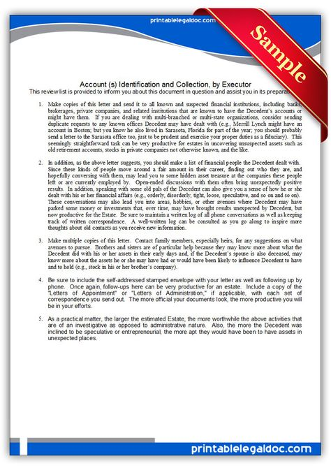 Free Printable Account Identification \ Collection, By Executor - financial power of attorney form