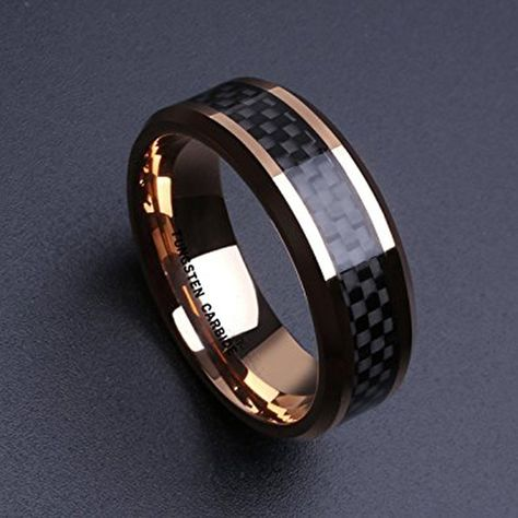 Rose Gold Ring with Black Carbon Fiber Inlay