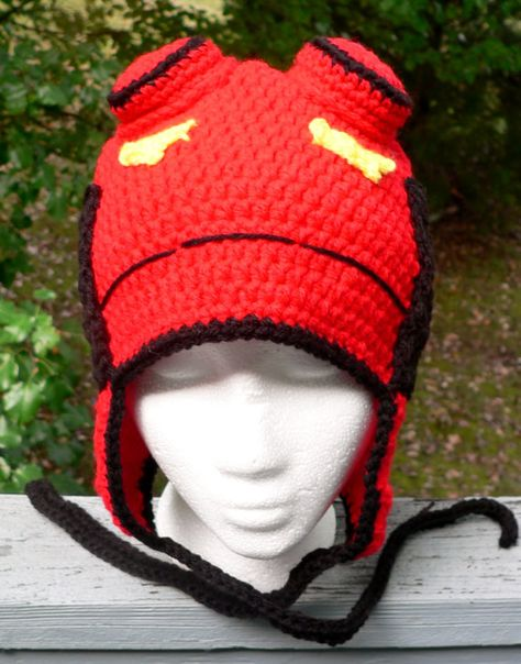 6441944474b Hellboy crochet hat by Macabrochet on Etsy