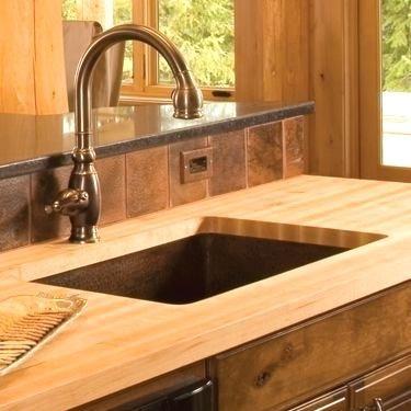 How To Install Undermount Sink In Butcher Block Countertop Simple Copper Sink In Counter Trendy Kitchen Backsplash Trendy Kitchen Tile Best Kitchen Countertops