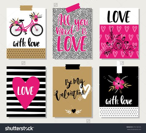 Love Collection With 6 Cards. Perfect For Valentines Day, Stickers, Birthday, Save The Date Invitation. Stock Vector Illustration 376136725 : Shutterstock