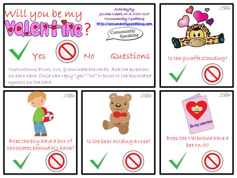 Speechie Freebies: Will You Be My Valentine? Yes/No Questions. Pinned by SOS Inc. Resources. Follow all our boards at pinterest.com/sostherapy/ for therapy resources.