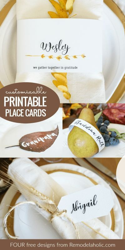 Free Customizable Printable Place Cards And Thanksgiving Printable Transfer Thanksgivin Printable Place Cards Thanksgiving Place Cards Thanksgiving Name Cards