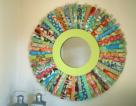 auction project - each kid decorates a piece of wood/shim to make a colorful sunburst mirror or a wreath
