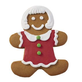 Holiday Dressed Up Gingerbread Girl With Red Dress Christmas
