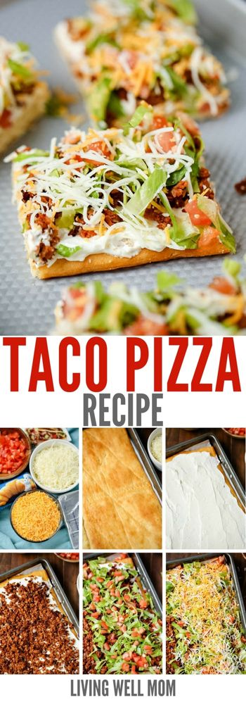 This easy taco pizza is made with a crescent roll crust and a tasty hit with the whole family. With simple ingredients, you can whip up this filling meal in under 30 minutes! # easy meals for family The Best Easy Taco Pizza Recipe - Living Well Mom Taco Pizza Recipes, Mexican Food Recipes, Beef Recipes, Cooking Recipes, Healthy Recipes, Pillsbury Pizza Crust Recipes, Easy Cooking, Easy Recipes, Recipies