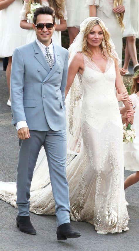 Vestito Da Sposa Kate Moss.Gli Abiti Da Sposa Vip Piu Belli Di Sempre Kate Moss In Abito Da
