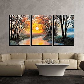 Wall26 3 Piece Canvas Wall Art Oil Painting On Canvas The River Watercolor Wallpaper Tree 3 Piece Canvas Art Canvas Wall Art Abstract Canvas Painting