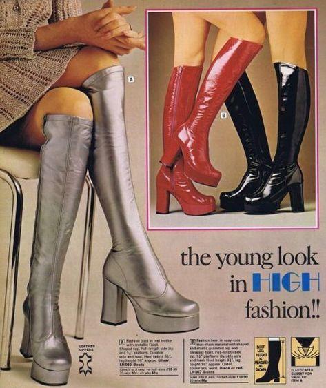 Fashion disco platform shoes Ideas for 2019 70s Inspired Fashion, 60s And 70s Fashion, Retro Fashion, Trendy Fashion, High Fashion, Vintage Fashion, Fashion Boots, Gold Fashion, Lolita Fashion
