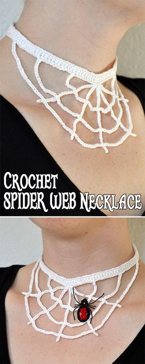 Necklace You can add an extra special touch with my Tatted Black Widow Spider. Use a jump ring to attach it right to the spider web necklace or put it on the end of a chain and attach a pair of them to earrings! Crochet Fall, Holiday Crochet, Free Crochet, Knit Crochet, Crochet Collar, Crochet Toys, Crochet Crafts, Yarn Crafts, Crochet Projects