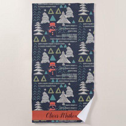 Fun Colourful Forest Snowman Winter Christmas Tree Beach Towel