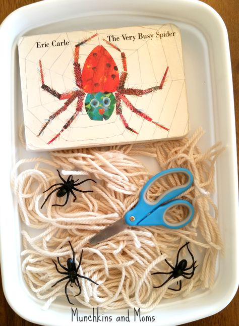 """""""The Very Busy Spider"""" Cutting Activity - Munchkins and Moms. Good to pair with the making a spider web craft. Cutting Activities, Book Activities, Toddler Activities, Toddler Play, Toddler Learning, Eric Carle, Preschool Books, Preschool Activities, Preschool Classroom"""