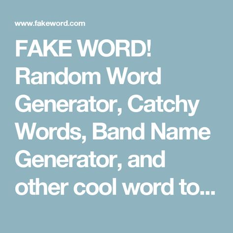 Random Word Generator, Catchy Words, Band Name   Another Word For  Another Word For Janitor
