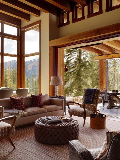 Delightful Modern Mountain Cabin Getaway In Picturesque Martis Camp Cabin Interiors Mountain Living Room Small Cabin Interiors