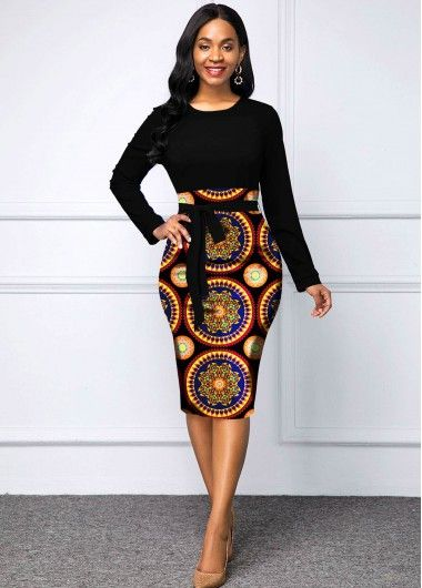 Women'S Black Tribal Print Sheath Long Sleeve Cocktail Party Dress Round Neck Belted Bodycon Midi Elegant Dress By Rosewe Long Sleeve Tribal Print