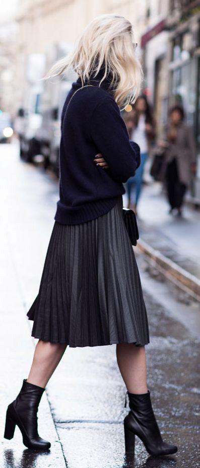 Flowing Black Leather Midi Skirt