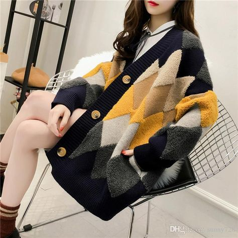 2019 2019 New Autumn Winter Multicolors Plaid Pattern Women Knitting Sweater Cardigans V Neck Long Sleeve Button Pockets Fashion Sweaters Outwear From Sunny728, $17.09 | DHgate.Com