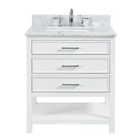 Allen Roth Presnell 31 In Dove White Undermount Single Sink Bathroom Vanity With Carrara White Natural Marble Top Lowes Com Single Sink Bathroom Vanity Single Bathroom Vanity Marble Vanity Tops
