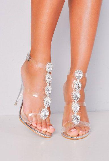 52d0af45b2d Jewel Embellished Perspex Clear Strap Stiletto Heels Silver in 2019 ...