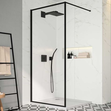 Merlyn Black Wet Room Panel Blkfsw120 1200mm 8mm Clear In 2020 Shower Panels Wet Rooms Framed Shower Glass