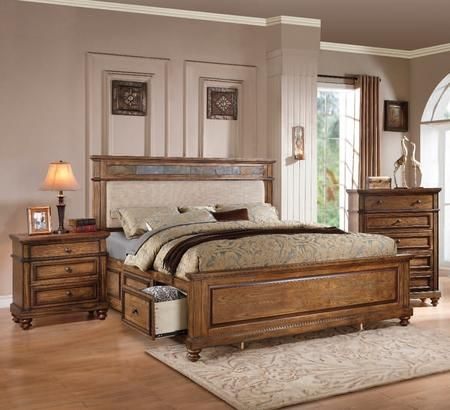 Arielle Collection 24454ck3set 3 Pc Bedroom Set With California King Size Bed Chest And Nightstand King Storage Bed Furniture Acme Furniture