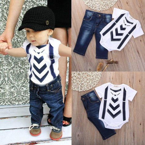 7313942e203c Summer Infant Baby Boy Girl Kids Clothes T-shirt Tops+Jeans Pants Sets  Outfit 0-24Month Hot Sale. Yesterday s price  US  12.49 (11.18 EUR).