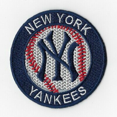 "NY Yankees 3 1//4/"" Round Embroidered Sewn//Iron On Patch"
