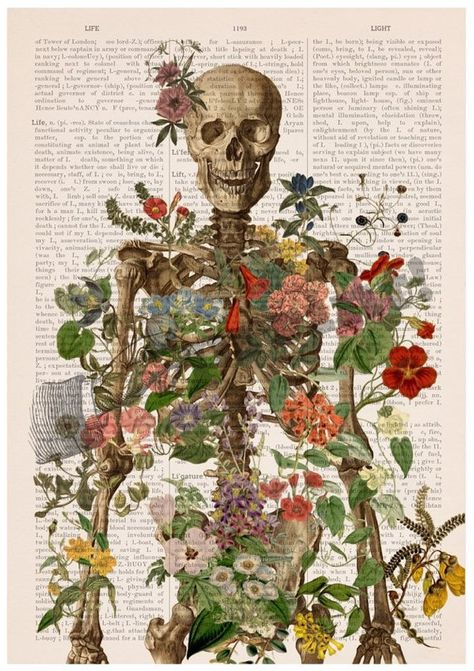 Skeleton covered with flowers Anatomy art Wall decor Wll | Etsy