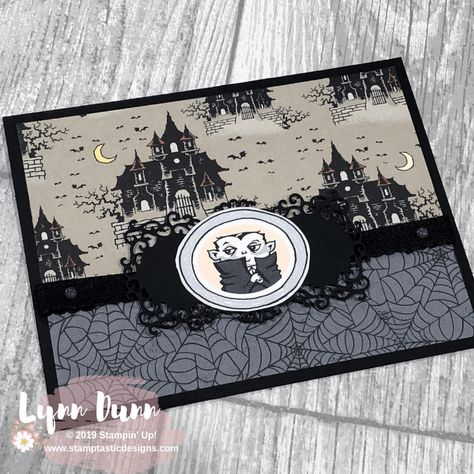 4 vintage style Halloween cards featuring the new Monster Bash suite. This is a fun suite of spooky products in the 2019 Stampin' Up! Vintage Halloween Cards, Vintage Birthday Cards, Up Halloween, Halloween Projects, Cricut Halloween Cards, Halloween Ecards, Thanksgiving Cards, Holiday Cards, Christmas Cards